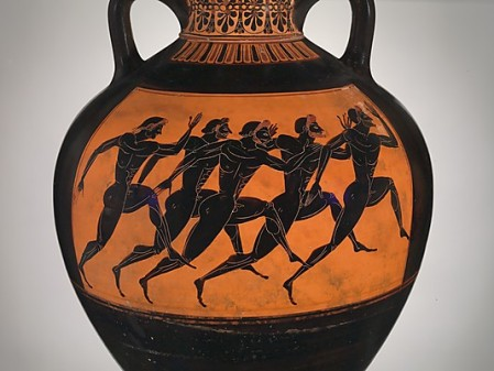 Fig 1: Runners at the panathenaic games 530 BC .   These athletes were competitors in the stadion, a sprint over a single length of the track (over 200 meters).   Terracotta Panathenaic prize amphora, attributed to the Euphiletos Painter.  Copyright, The Metropolitan Museum of Art,  www.metmuseum.org